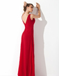 A-Line/Princess V-neck Floor-Length Chiffon Bridesmaid Dress With Ruffle Beading (007001571)