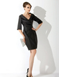 Sheath/Column V-neck Short/Mini Charmeuse Mother of the Bride Dress With Ruffle (008006019)