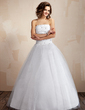 Ball-Gown Strapless Floor-Length Taffeta Tulle Wedding Dress With Ruffle Beading (002000041)