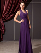 A-Line/Princess Halter Floor-Length Chiffon Bridesmaid Dress With Ruffle (007014243)