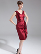 Sheath/Column V-neck Knee-Length Charmeuse Mother of the Bride Dress With Beading Sequins Cascading Ruffles (008005688)