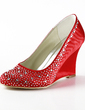 Women's Satin Wedge Heel Closed Toe Pumps With Rhinestone (047020122)