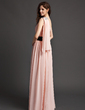 A-Line/Princess One-Shoulder Floor-Length Chiffon Evening Dress With Ruffle Sash Flower(s) Sequins (008015955)