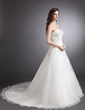 A-Line/Princess Sweetheart Chapel Train Organza Wedding Dress With Ruffle Beading Appliques Lace (002000331)