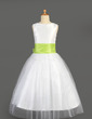 A-Line/Princess Floor-length Flower Girl Dress - Tulle/Charmeuse Sleeveless Scoop Neck With Sash/Flower(s)/Bow(s) (010014646)