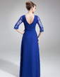 A-Line/Princess V-neck Floor-Length Chiffon Mother of the Bride Dress With Ruffle Lace Beading (008006382)