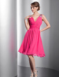 A-Line/Princess V-neck Knee-Length Chiffon Homecoming Dress With Ruffle Beading Sequins (022014793)