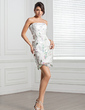 Sheath/Column Strapless Short/Mini Satin Cocktail Dress With Beading Feather Flower(s) Sequins (016020688)