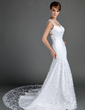 Trumpet/Mermaid Sweetheart Chapel Train Lace Wedding Dress (002015699)