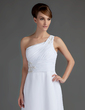 A-Line/Princess One-Shoulder Sweep Train Chiffon Mother of the Bride Dress With Ruffle Lace Beading (008015720)