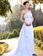 Empire Strapless Court Train Chiffon Wedding Dress With Ruffle Beading (002001417)