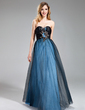 A-Line/Princess Sweetheart Floor-Length Taffeta Tulle Prom Dress With Ruffle Beading Feather Flower(s) (018018869)