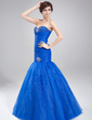 Trumpet/Mermaid Sweetheart Floor-Length Organza Prom Dress With Ruffle Beading (018020791)
