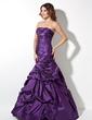 Trumpet/Mermaid Strapless Floor-Length Taffeta Prom Dress With Ruffle (018017414)