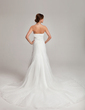 A-Line/Princess Strapless Chapel Train Organza Wedding Dress With Ruffle Beading (002001245)