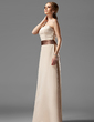 A-Line/Princess Strapless Floor-Length Satin Bridesmaid Dress With Sash (007004115)