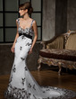 Trumpet/Mermaid Sweetheart Chapel Train Tulle Wedding Dress With Lace Crystal Brooch (002000324)