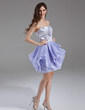 A-Line/Princess Strapless Short/Mini Chiffon Charmeuse Homecoming Dress With Ruffle (022020844)
