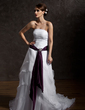A-Line/Princess Strapless Court Train Organza Wedding Dress With Ruffle Sash Crystal Brooch (002012226)