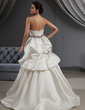 A-Line/Princess Sweetheart Sweep Train Satin Wedding Dress With Ruffle Beading (002022652)