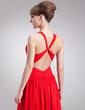 A-Line/Princess V-neck Floor-Length Chiffon Evening Dress With Ruffle (017022544)