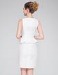 Sheath/Column Scoop Neck Short/Mini Taffeta Cocktail Dress With Bow(s) (017042388)