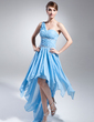 A-Line/Princess One-Shoulder Asymmetrical Chiffon Prom Dress With Beading Cascading Ruffles (018015019)