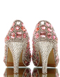 Women's Real Leather Stiletto Heel Closed Toe Platform Pumps With Rhinestone (047054793)