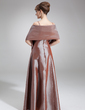A-Line/Princess V-neck Floor-Length Taffeta Bridesmaid Dress With Ruffle Beading (007000964)