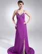 A-Line/Princess Sweetheart Watteau Train Chiffon Evening Dress With Beading Split Front (008015884)