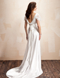 A-Line/Princess Cowl Neck Court Train Charmeuse Wedding Dress With Ruffle Lace Bow(s) (002012560)