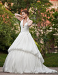 Ball-Gown V-neck Chapel Train Taffeta Wedding Dress With Ruffle Crystal Brooch (002001225)