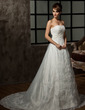 A-Line/Princess Sweetheart Chapel Train Tulle Wedding Dress With Beading Appliques Lace (002000298)