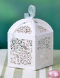 Floral Cut Out Cuboid Pearl Paper Favor Boxes With Ribbons (Set of 12) (050032985)