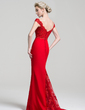 Trumpet/Mermaid Off-the-Shoulder Sweep Train Chiffon Lace Prom Dress With Beading Sequins (018112724)