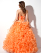 Ball-Gown Sweetheart Floor-Length Organza Quinceanera Dress With Beading Appliques Lace Sequins Cascading Ruffles (021004706)