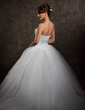 Ball-Gown Sweetheart Chapel Train Satin Wedding Dress With Lace Beading Sequins (002008181)