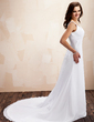 A-Line/Princess V-neck Chapel Train Chiffon Wedding Dress With Ruffle Beading Bow(s) (002011620)