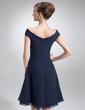 Çan/Prenses Off-Omuz Diz Hizası Chiffon Gelin Annesi Elbisesi (008006013)