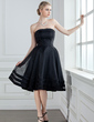 A-Line/Princess Strapless Knee-Length Organza Bridesmaid Dress (007001813)