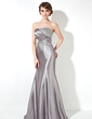 Trumpet/Mermaid Strapless Sweep Train Charmeuse Prom Dress With Ruffle Beading Sequins (018004895)
