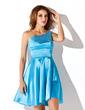 Linia A/Księżniczka Jednoramienna Krótka/Mini Charmeuse Sukienka na Zjazd Absolwentów Z Perełki (022010005)