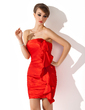 Sheath/Column Strapless Short/Mini Charmeuse Cocktail Dress With Cascading Ruffles (016020788)