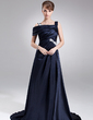 A-Line/Princess Off-the-Shoulder Sweep Train Charmeuse Prom Dress With Ruffle Appliques Lace Split Front (018005100)