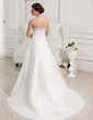 A-Line/Princess Sweetheart Chapel Train Satin Organza Wedding Dress With Ruffle Beading (002011942)