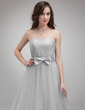 A-Line/Princess Sweetheart Floor-Length Tulle Homecoming Dress With Ruffle Bow(s) (022018800)