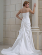 A-Line/Princess Sweetheart Court Train Satin Wedding Dress With Ruffle Appliques Lace (002000437)