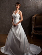 Ball-Gown V-neck Chapel Train Satin Wedding Dress With Ruffle Beading (002000615)