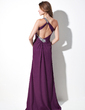 Sheath/Column One-Shoulder Sweep Train Chiffon Evening Dress With Ruffle Beading Split Front (017016057)