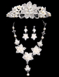 Flower Shaped Alloy/Pearl With Rhinestone Women's Jewelry Sets (011028547)